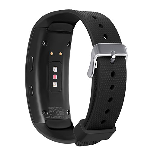 Compatible Samsung Gear Fit 2 Pro/Fit 2 Band, NaHai Silicone Replacement Strap for Samsung Gear Fit2 and Fit2 Pro (New-Black, 5.5''-7.5'')