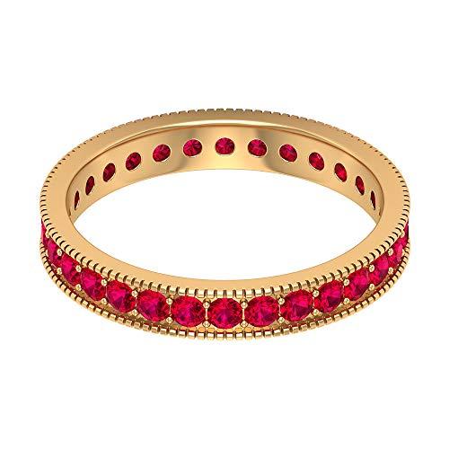 Anillo con cuentas de cristal de rubí con cuentas grabadas de 1,5 quilates, anillo de promesa de aniversario antiguo, anillo único de eternidad con piedras preciosas, 14K Oro amarillo, Size:EU 70