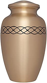 Bronze Funeral Urn by Liliane Memorials - Cremation Urn for Human Ashes - Hand Made in Brass - Suitable for Cemetery Burial or Niche - Large Size fits remains of Adults up to 200 lbs- Links Gold Model