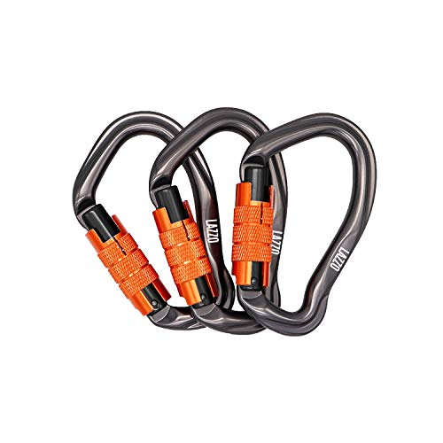 LAZZO 3 Pack Twist Lock Climbing Carabiner Clips, Auto Locking and Heavy Duty, Perfect for Climbing and Rappelling, Carabiner Dog Leash, D Shaped 4.21 Inch, Large Size,Orange