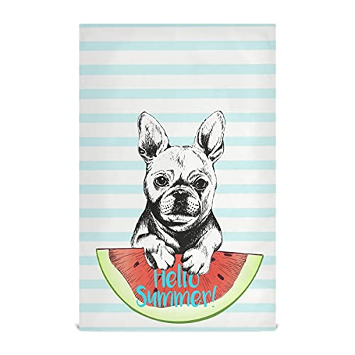 CUPADA French Bulldog Kitchen Towel 18'x28' Multifunction Hanging Towels, Set of 1 Kitchen Hand Towels Summer Watermelon Soft Absorbent Dish Towels Tea Bar Towels for Home Clean Decor