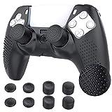 TiMOVO Funda para PS5 Controlador con 8 Tapas de Agarre para Pulgar, Protector de Silicona Antideslizante para PS5 DualSense Controlador Inalámbrico, Negro