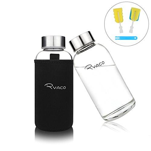 Ryaco Glasflasche Trinkflasche Classic Tragbare 360ml BPA-frei für unterwegs Sportflasche Glas Wasserflasche zum Mitnehmen von kalten Getränken mit Neopren Tasche und Schwammbürste (Schwarz, 360ml)