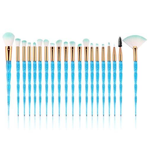 LZJE 20 pcs Diamant Maquillage Brosse Ensemble Eye Brush Beauté Outils Fan Poudre Fard À Paupières Contour Beauté Cosmétique Coloré, Violet