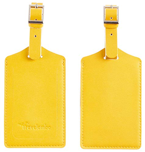 Travelambo Leather Luggage Bag Tags (Energetic Yellow)