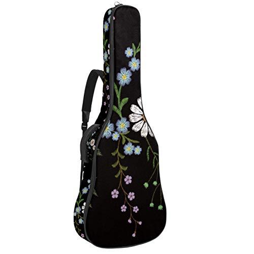 Bennigiry Bordado Floral Ramas Hierbas Margarita Violeta Flor Guitarra Bolsa Guitarra Acústica Gig Bag Guitarras Llevar Caso para Guitarrista