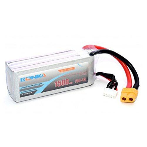 MadridGadgetStore® Batería Bonka 1500 mAh 75C 4S 14.8V Litio para Drone FPV Mini Quad Competición Racing Hobby RC QuadCoptero LIPO Marco en X H