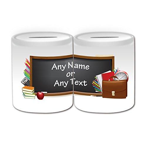 UNIGIFT Gepersonaliseerd geschenk - Blackboard Money Box (Academic Design Theme, wit) - Naam/boodschap op uw unieke - Spaar Piggy Bank - School College University
