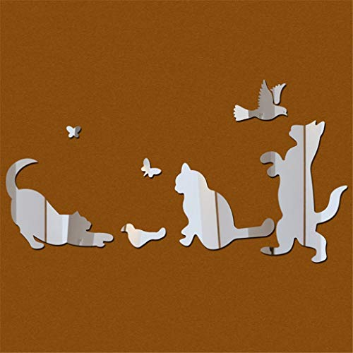 HFSYYM6 Wall Décor Silver Animal Mirror Wall Stickers Decoration 3D Mirror Adhesive Mural Wall Stickers Cats And Dogs Combination Home Decoration