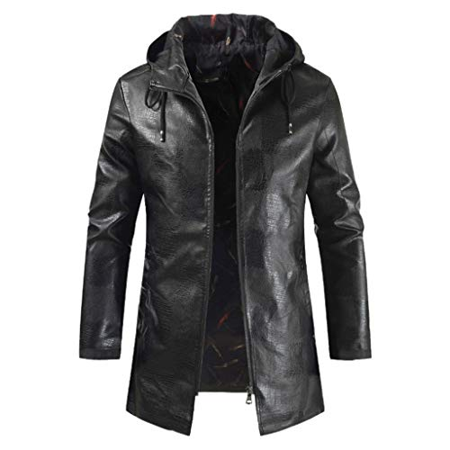 Best Prices! Seaintheson Men's Hooded Motorcycle Jacket,Autumn Winter Warm Long Sleeved Outwear Slim...