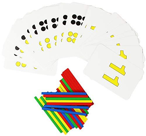 COM-FOUR® leerset bestaande uit 21 telkaarten + 25 telstokken in kleur ontworpen voor de start op school of kleuterschool in een praktische plastic doos perfect voor de suikerzak