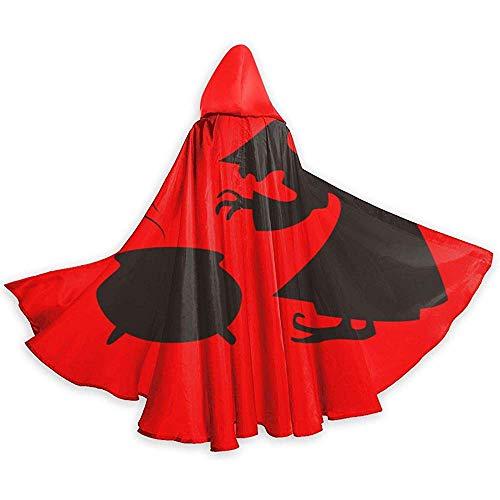 Halloween sorcière Cuisine Silhouette Par Vexels Unisexe Capuche Cape Longue Cape avec Capuche Halloween Noël Cosplay Party Costumes Noir