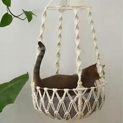 POHOVE Hamaca para gatos de macramé, hecha a mano, cama de macramé, para ventana de gato, perca, colgante de pared para gatos