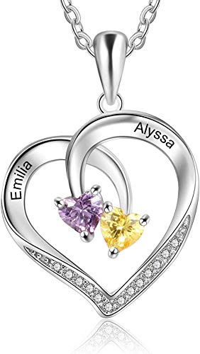 OPALSTOCK Kette Herz Damen Halskette 925 Sterling Silber Anhänger Personalisierte Namen Schmuck mit 3 Simulierten Geburtssteinen 45CM Kettenlänge Geschenk für Damen
