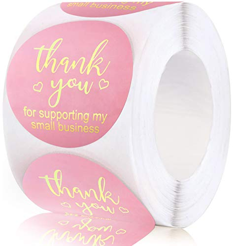 1.5in Thank You Stickers,Roll of 500 Thank You for Supporting My Small Business Sticker Labels,Adhesive Thank You Round Label Stickers for Gift Packaging,Greeting Card,Bouquet,Mailer&Retail Bag,Pink