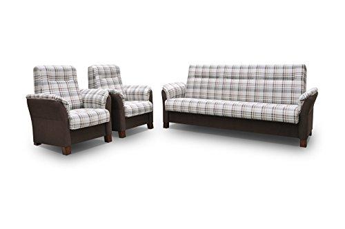 mb-moebel Polstergarnitur Sofa Set 3er Couch & 1er Wohnlandschaft 3-Sitzer und Zwei Sessel Möbel Set - Anna II (Braun)