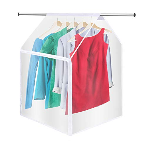 QEES Garment Bags for Storage, Translucent Waterproof Hanging Clothes Bag, Thicken PEVA Clothes Protector, Hanging Wardrobe Garment Storage Bag, Suit Bags,Closet Garment Bag YFZ48(45×20×21inch)