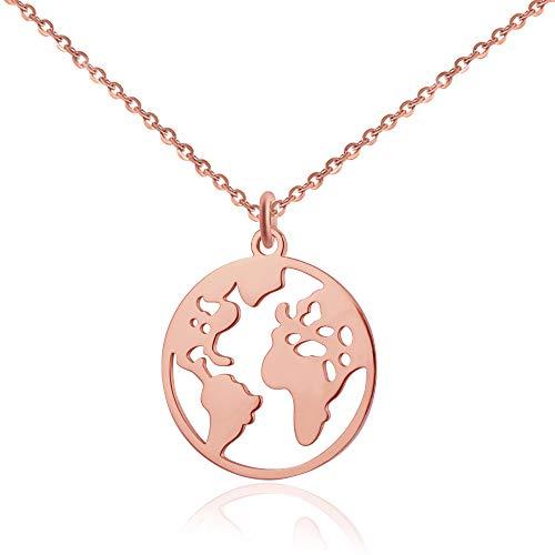 Good.Designs Weltkugel Kette für Damen (verstellbar) Halskette mit Weltkarte Anhänger (Rosé)