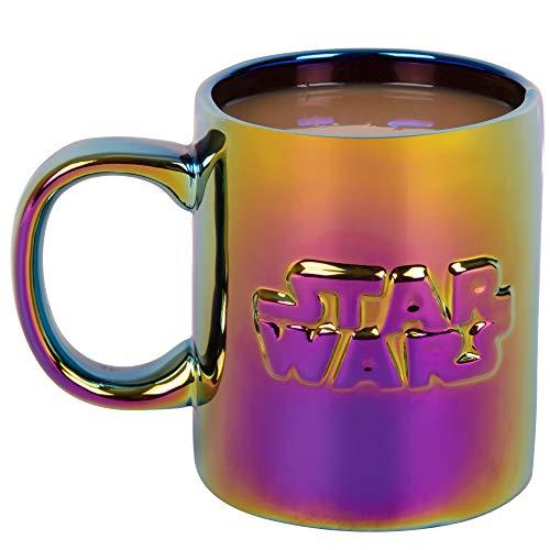 Taza de café de cerámica de Star Wars, acabado holográfico metálico iridiscente con logotipo de Star Wars – 11 oz