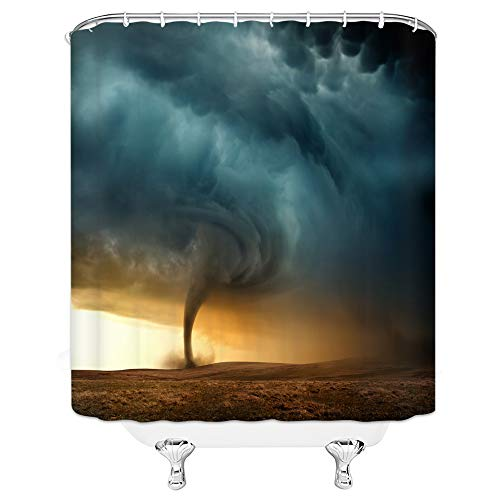 qianliansheji Tornado Duschvorhang, Naturkatastrophe, Duschvorhang, Futter, Grasland, Bauernhof, Drache, Hurricane, Duschvorhang, verblasst nicht, Grau, Himmelwolke, Duschvorhang, 70 x 70 cm