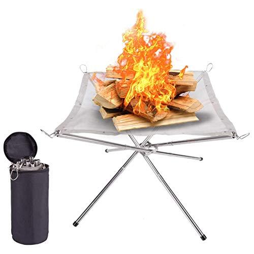WERTAZ Tragbare Feuerstelle im Freien 16,5 Zoll Faltbare Feuerschale Feuerkörbe Mesh Feuerstellen, tragbarer Kamin für Camping Picknick Patio