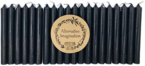 Set of 20 Black Unscented 4 Inch Tall Chime Candles Altar Spell product image