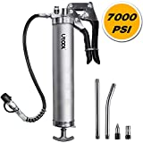 UTOOL Grease Gun, 7000 PSI Heavy Duty Pistol Grip Grease Gun Set with 14 oz Load, 18 Inch Spring Flex Hose, 2 Working Coupler, 2 Extension Rigid Pipe and 1 Sharp Type Nozzle Included, Argent