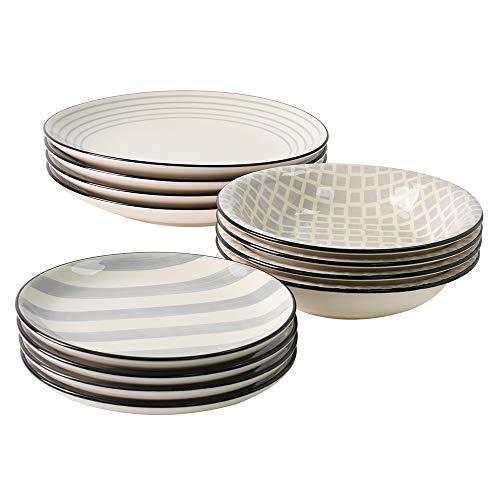 ProCook Salcombe - Tafelservice - Steinzeug - 12-teilig - verschiedene Muster - grau