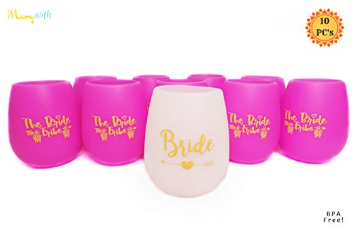 (10 Piece Set) Bachelorette Party Silicone Cups - for Engagement Party Decoration, Bridal Showers and Hen Parties.