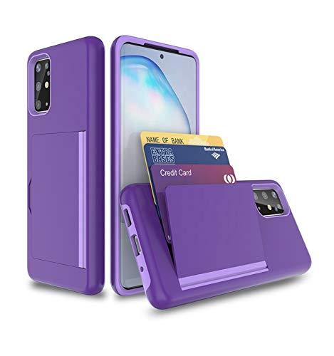 CP&A - Funda protectora para Samsung Galaxy S20 Ultra, carcasa de goma resistente, ranura para tarjetero, TPU y PC, carcasa para Samsung S20 Ultra (morado)