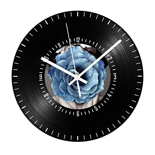 Wandklok Blue Rose Retro Clock Mute Round Digital Digital Decoration Wall Clock Living Room Home Decoration