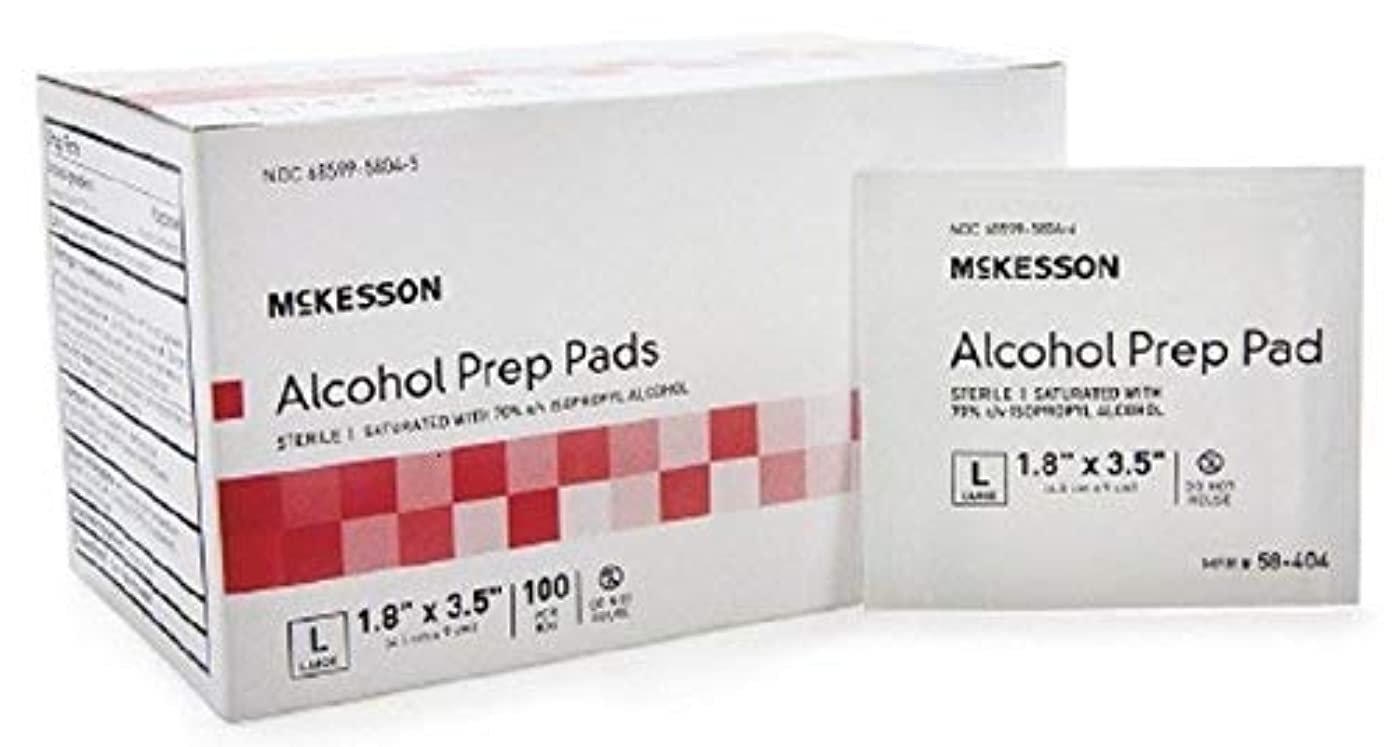 Alcohol Prep Pad, McKesson, Isopropyl Alcohol 70%, Individual Packet, Large, 3.5 X 1.7 Inch, Sterile, 100 Ct. Box, Case of 10 Boxes = 1000 Pads
