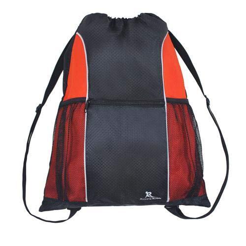 Running Buddy Water-resistant Drawstring Gym Backpack Bag for Men & Women, Sport Gym Sack Mini Travel Daypack (Red & Black)