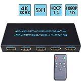 FiveHome 4K HDMI Switch 5 Entrées 1 Sortie Switch HDMI Commutateur Compatible pour...