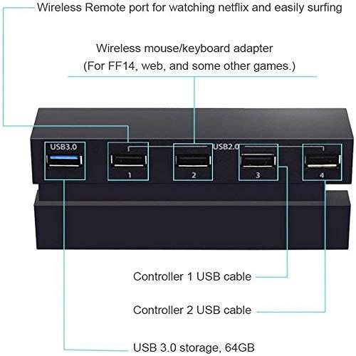 USB Hub 5 Puertos Adaptador de concentrador de expansión de Alta Velocidad Conector para PS4