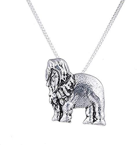 BACKZY MXJP Halskette Tier Old English Sheepdog Hund Halskette Miniatur Hunde Figuren Anhänger Anhänger Charms Modeschmuck Für Frauen Ostergeschenke
