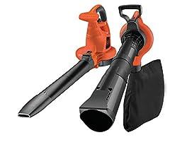 Aspirateur à feuilles cassants Black+Decker GW3030 avec broyeur, sac à pêche de 50l et seconde poignée - Vitesse de soufflage variable jusqu'à 418km/h - 14 m³/Min Puissance d'aspiration - Utilisation respectueuse du dos