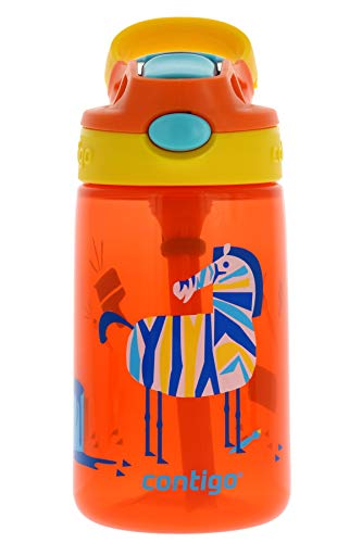 Contigo AUTOSPOUT Kids Gizmo Flip Water Bottle, 14oz Coral Orange Zebra Graphic – Leak & Spill Proof Bottles for Home or Travel – Easy-Clean, Dishwasher Safe – Press Button For Pop Up Straw