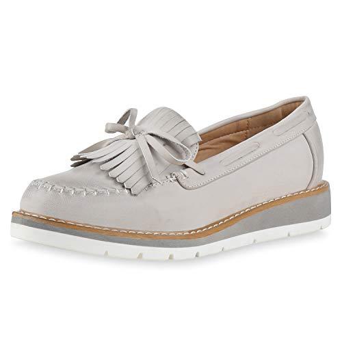 SCARPE VITA Damen Slipper Mokassins Fransen Profilsohle Schuhe Leder-Optik 172757 Hellgrau 37