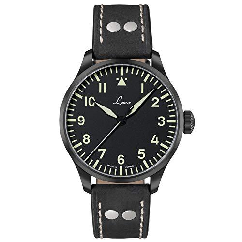 LACO Altenburg 861759.2 - Reloj de pulsera para hombre (correa de piel de becerro negra, cristal de zafiro, 42 mm de diámetro, automático, reloj marinero, incluye estuche)