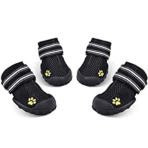 HiPaw Summer Breathable Mesh Reflective Strap Rugged Nonslip Sole Dog Boots