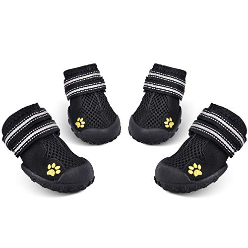 HiPaw Summer Breathable Dog Boot Reflective Strap Rugged Nonslip Sole for Hot Pavement