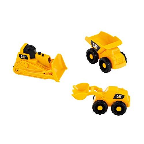 Theo Klein 3241 3236 Baustellenfahrzeuge 3 TLG CAT Baustellen-Fahrzeuge-Set für den Sandkasten, gelb