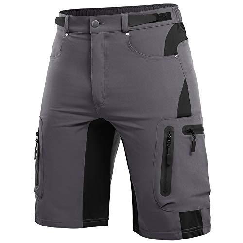 Cycorld Pantaloncini MTB Uomo, Pantaloncini Ciclismo Biciclette, Bici MTB Pantaloni Traspirante Shorts per Ciclismo (Grigio, M)