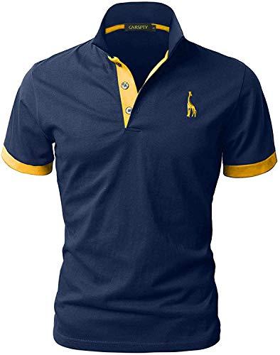 GNRSPTY Polo da Uomo Manica Corta Ricami Fulvi Golf Poloshirt Camicia Tennis T-Shirt Estate,Marina,L