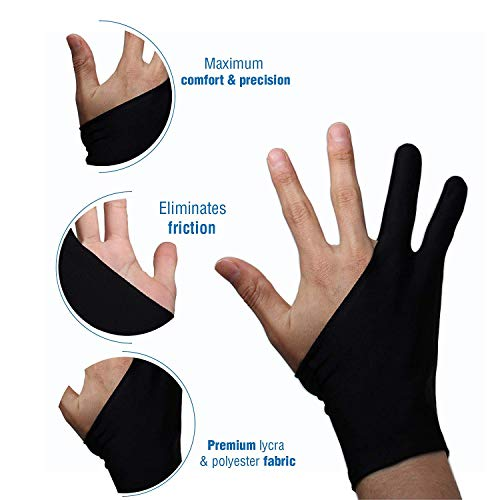 Océu Artist Glove for Drawing Tablet Artist's Drawing Glove with Two Fingers for Graphics Drawing Tablet (1 Unit of Free Size, Good for Right Hand or Left Hand) (S)