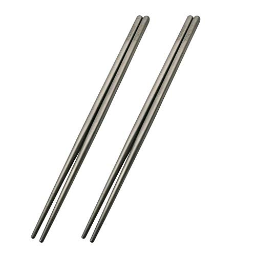 Titanium Chopsticks Ultralight 2 Pairs (Square) 9 inches Standard Length Rice, Noodles and Sushi Reusable Cutlery Cookware
