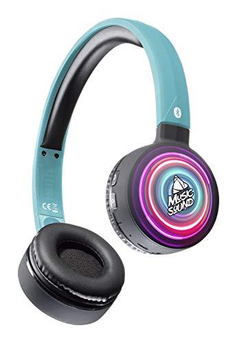 Musicsound Bluetooth-hoofdtelefoon met uittrekbare hoofdband, kleurrijk, draadloze headset met microfoon, led-display en afstandsbediening op paviljoenen, ringen