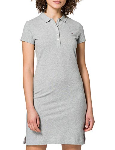 Tommy Hilfiger Slim Short Polo Dress SS Vestido Informal, Gris, XXS para Mujer