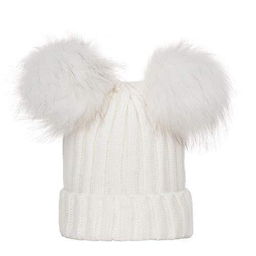 MXJEEIO Mujer Gorro de Invierno Beanie Sombrero De Invierno Doble Pompón Esquí de Moda Sombreros para Mujer de Invierno - Gorros de Punto con Dos Pompones de Piel sintética de No se Puede Des